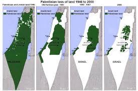 Perhatikan, awalnya seluruh wilayah adalah Palestina (warna hijau), kini wilayah Palestina sangat sedikit (sekitar 3%)
