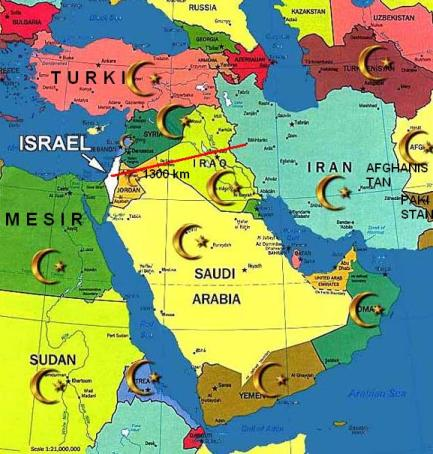 jarak iran dengan israel